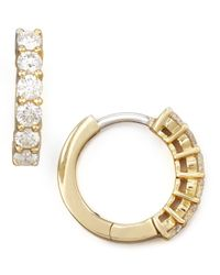 Roberto Coin | Metallic 13mm Yellow Gold Diamond Hoop Earrings | Lyst