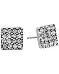 Marc Jacobs | Metallic Sparkle Crystal Square Studs Earrings | Lyst