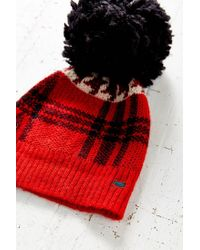 Woolrich - Red Plaid Menswear Pompom Hat - Lyst
