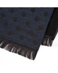 Paul Smith - Blue Men's Navy Polka Dot Moose Reverse Wool-silk Scarf for Men - Lyst