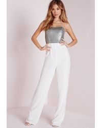 Missguided | Metallic Sequin Embellished Bandeau Jumpsuit Silver | Lyst