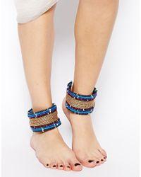 ASOS - Blue Seedbead Anklet Multipack - Lyst