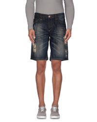 Philipp Plein - Blue Denim Bermudas for Men - Lyst