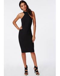 Missguided - Stretch Crepe High Neck Midi Dress Black - Lyst