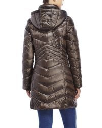 Ellen Tracy | Metallic Hooded Iridescent Down Puffer Coat | Lyst