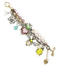Betsey Johnson | Multicolor Multi-Color Crystal Bug Charm Bracelet | Lyst