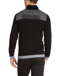 BOSS Green - Black Zip-neck Sweater 'zelchior Pro' In Water-repellent Cotton Blend for Men - Lyst