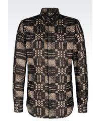 Emporio Armani - Black Shirt In Modal Blend for Men - Lyst
