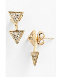 Melinda Maria | Metallic 'phoenix' Pave Triangle Stud Earrings | Lyst