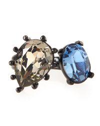 Oscar de la Renta - Black Pear And Oval Crystal Ring - Lyst