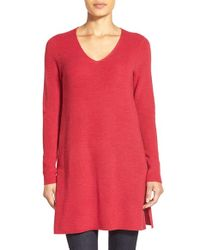 Eileen Fisher | Red V-neck Merino Wool Tunic Sweater | Lyst