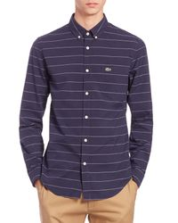 Lacoste | Blue Slim-fit Striped Cotton Pplin Sportshirt for Men | Lyst