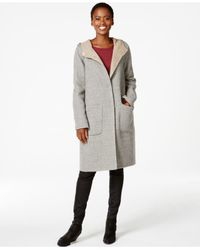 Eileen Fisher - Gray Hooded Wool Car Coat - Lyst