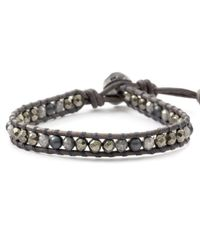 Chan Luu | Black Grey Stone Mix Single Wrap Bracelet On Natural Grey Leather | Lyst