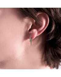 Edge Only - Metallic Pointed Lightning Bolt Earrings Gold - Lyst