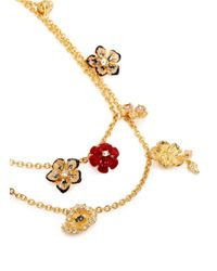 Alexander McQueen | Metallic Double Strand Crystal Flower Charm Necklace | Lyst