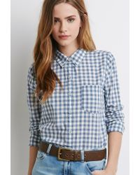Forever 21 | Blue Gingham Pocket Shirt | Lyst