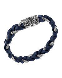 John Hardy | Dark Blue Leather & Sterling Silver Bracelet for Men | Lyst