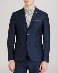 Ted Baker - Blue Niteyes Herringbone Linen Blazer - Regular Fit for Men - Lyst