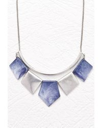 Forever 21 | Blue Marbleized Pendant Statement Necklace | Lyst