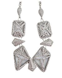 Alexis Bittar | Metallic Silver Acrylic and Crystal Statement Necklace | Lyst
