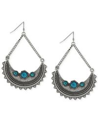 BCBGeneration | Metallic Silver-tone Turquoise-colored Trapeze Drop Earrings | Lyst