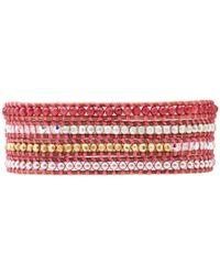 Chan Luu - Pink Wrap with Swarvoski Pearls Quartz Crystal Ab Nuggetsnatural Brownbs - Lyst