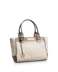 Calvin Klein - Natural Candice Lurex Logo Jacquard Shopper Tote - Lyst