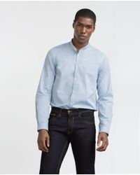 Zara | Blue Mao Collar Shirt for Men | Lyst