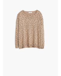 Mango | Natural Polka-dot Cotton-blend Sweater | Lyst