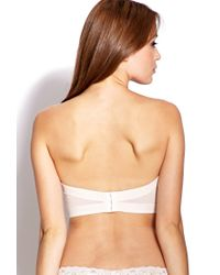 Forever 21 - Pink Strapless Lace Corset Bra - Lyst