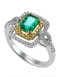 Effy | Green Brasilica 14kt. Yellow And White Gold Emerald Diamond Ring | Lyst