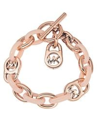 Michael Kors - Pink Logo-lock Charm Bracelet - Lyst