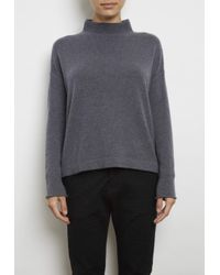 INHABIT | Gray Cashmere Back Slice Mock Neck Pullover | Lyst