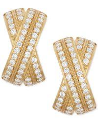 Wrapped in Love - Metallic Diamond Crossover X-earrings (1 Ct. T.w.) In 14k Gold - Lyst