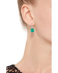 Nina Runsdorf - Green Emerald And Platinum Drop Earrings - Lyst