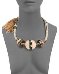 Lanvin | Metallic Beaded Cord Tassel Necklace | Lyst