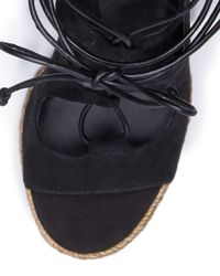 Tory Burch - Black Raya Lace-up Wedge - Lyst