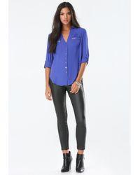 Bebe   Blue Zip Pocket Tunic   Lyst