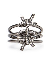 Fallon - Black Forget Me Knot Triple Ring - Lyst