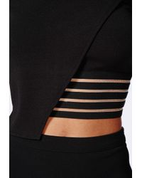 Missguided - Mesh Detail Hem Wrap Over Crop Top Black - Lyst