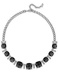 ABS By Allen Schwartz | Silver-Tone Black Stone Collar Necklace | Lyst