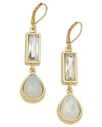 T Tahari | Metallic Gold-tone Mother Of Pearl Drop Earrings | Lyst