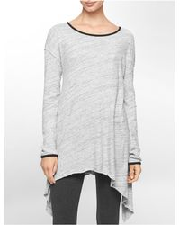 Calvin Klein | Gray White Label Performance Heathered High Low Side Tunic | Lyst