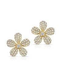 Anne Sisteron - 14kt Yellow Gold Diamond Puffy Daisy Flower Stud Earrings - Lyst