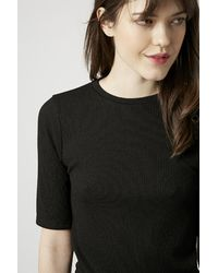 TOPSHOP | Black Ribbed Mini Bodycon Dress | Lyst