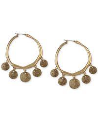 The Sak - Metallic Gold-tone Batik Drop Hoop Earrings - Lyst