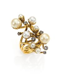Erickson Beamon | White Stratosphere Crystal & Faux Pearl Statement Ring | Lyst