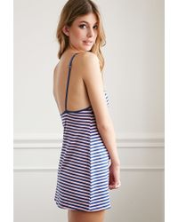 Forever 21 - Blue Striped Cotton-blend Nightdress - Lyst