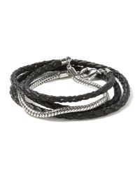 Banana Republic | Gray Leather Snake Chain Bracelet | Lyst